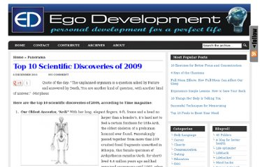 http://www.egodevelopment.com/top-10-scientific-discoveries-of-2009/