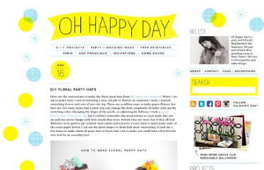 http://ohhappyday.com/2011/11/diy-floral-party-hats/