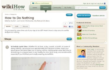 http://www.wikihow.com/Do-Nothing