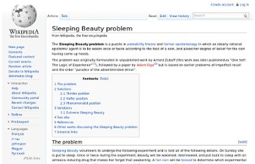 http://en.wikipedia.org/wiki/Sleeping_Beauty_problem