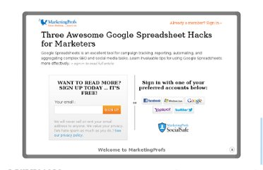 http://www.marketingprofs.com/articles/2012/7288/three-awesome-google-spreadsheet-hacks-for-marketers