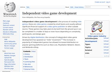 http://en.wikipedia.org/wiki/Independent_video_game_development