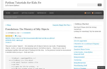 http://python4kids.wordpress.com/2010/10/25/foundations-the-ministry-of-silly-objects/
