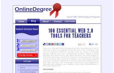 http://www.onlinedegree.net/100-essential-2-0-tools-for-teachers/