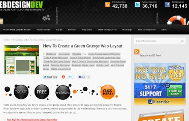 http://www.webdesigndev.com/photoshop/how-to-create-a-green-grunge-web-layout