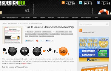 http://www.webdesigndev.com/web-development/tips-to-create-a-clean-structured-about-page