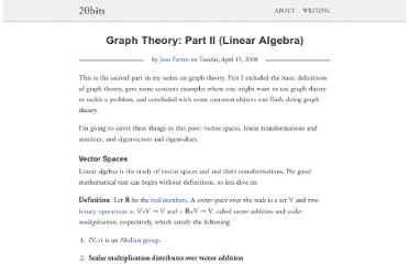 http://20bits.com/article/graph-theory-part-ii-linear-algebra