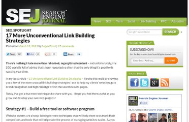 http://www.searchenginejournal.com/17-more-unconventional-link-building-strategies/41210/