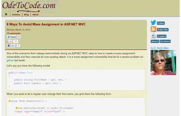 http://odetocode.com/Blogs/scott/archive/2012/03/11/complete-guide-to-mass-assignment-in-asp-net-mvc.aspx