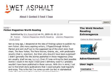 http://www.wetasphalt.com/?q=content/fiction-magazines-worth-reading