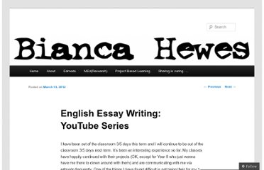 http://biancahewes.wordpress.com/2012/03/13/english-essay-writing-youtube-series/