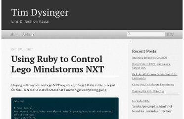 http://dysinger.net/2007/12/29/using-ruby-to-control-lego-mindstorms-nxt/
