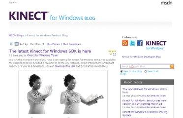 http://blogs.msdn.com/b/kinectforwindows/