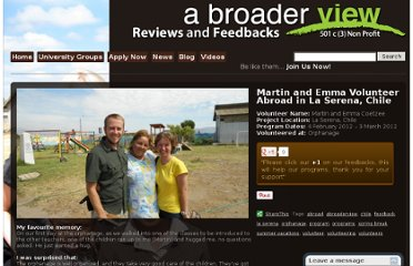 http://feedback.abroaderview.org/2012/03/13/martin-and-emma-volunteer-abroad-in-la-serena-chile/