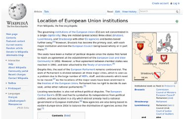 http://en.wikipedia.org/wiki/Location_of_European_Union_institutions