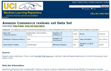 http://archive.ics.uci.edu/ml/datasets/Amazon+Commerce+reviews+set