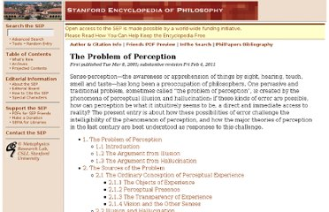 http://plato.stanford.edu/entries/perception-problem/
