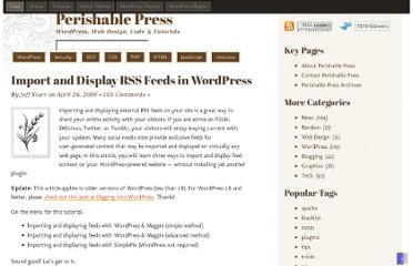 http://perishablepress.com/import-and-display-rss-feeds-in-wordpress/