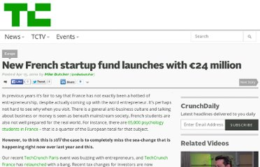http://techcrunch.com/2010/04/15/new-french-startup-fund-launches-with-e24-million/