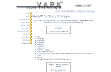 http://www.vark-learn.com/english/page.asp?p=readwrite