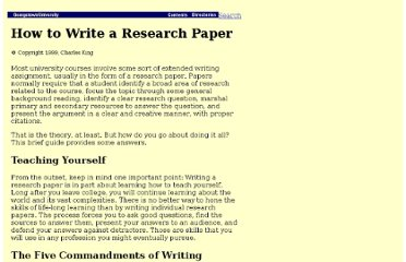 http://www9.georgetown.edu/faculty/kingch/How_to_Write_a_Research_Paper.htm