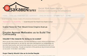 http://osakabentures.com/2012/03/empire-avenue-scaled-rewards-gamification/