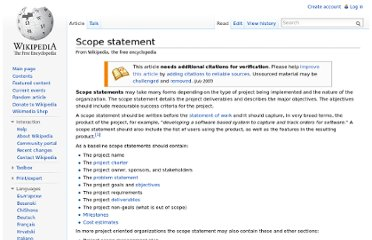 http://en.wikipedia.org/wiki/Scope_statement