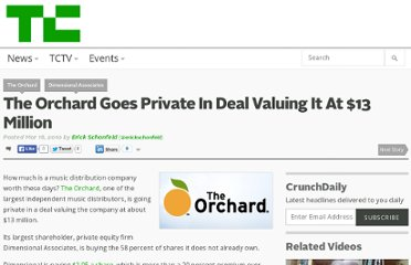 http://techcrunch.com/2010/03/16/the-orchard-goes-private-13-million/