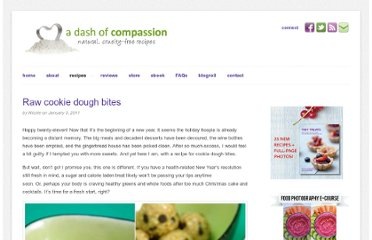 http://www.adashofcompassion.com/2011/01/raw-cookie-dough-bites/