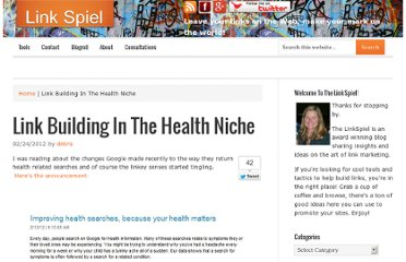 http://www.linkspiel.com/2012/02/link-building-in-the-health-niche/