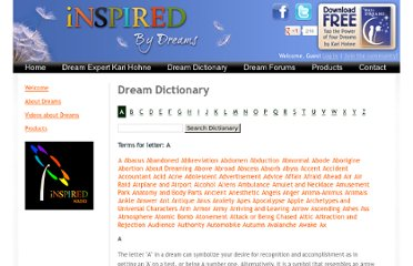 http://www.inspired-by-dreams.com/dreamdictionary/?letter=a