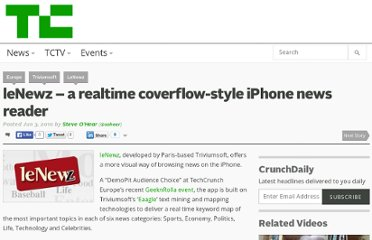http://techcrunch.com/2010/06/03/lenewz-a-realtime-coverflow-style-iphone-news-reader/