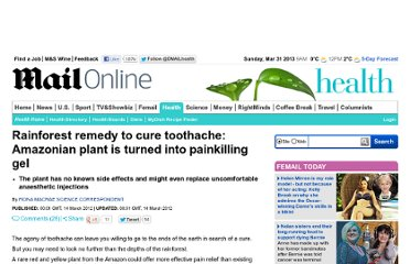 http://www.dailymail.co.uk/health/article-2114523/Amazon-Rainforest-plant-turned-painkilling-gel.html