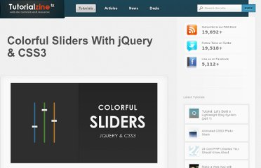 http://tutorialzine.com/2010/03/colorful-sliders-jquery-css3/