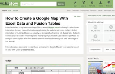 http://www.wikihow.com/Create-a-Google-Map-With-Excel-Data-and-Fusion-Tables