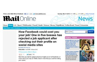 http://www.dailymail.co.uk/news/article-2115927/How-Facebook-cost-job-One-applicants-rejected-bosses-check-profiles-social-media-sites.html