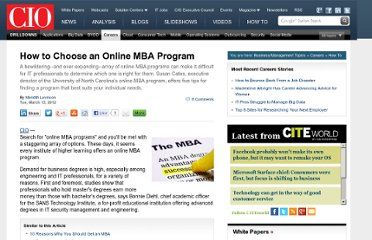 http://www.cio.com/article/702100/How_to_Choose_an_Online_MBA_Program