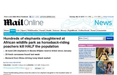 http://www.dailymail.co.uk/news/article-2115934/HALF-elephant-population-African-wildlife-park-slaughtered-poachers.html