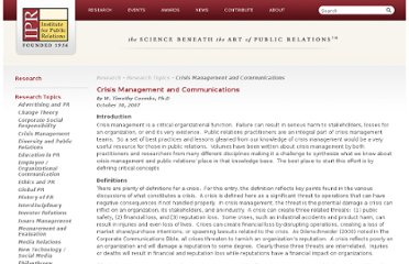 http://www.instituteforpr.org/topics/crisis-management-and-communications/
