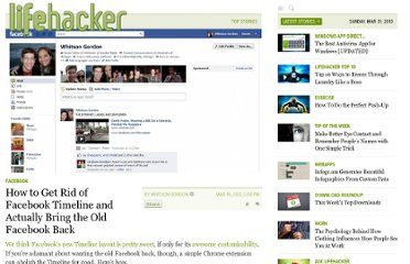 http://lifehacker.com/5894040/how-to-get-rid-of-facebook-timeline-and-actually-bring-the-old-facebook-back