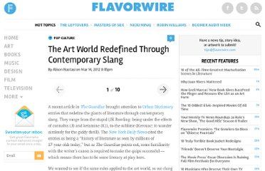 http://flavorwire.com/269583/the-art-world-redefined-through-contemporary-slang?all=1