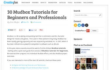 http://creativefan.com/30-mudbox-tutorials-for-beginners-and-professionals/
