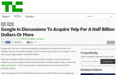 http://techcrunch.com/2009/12/17/google-acquire-buy-yelp/