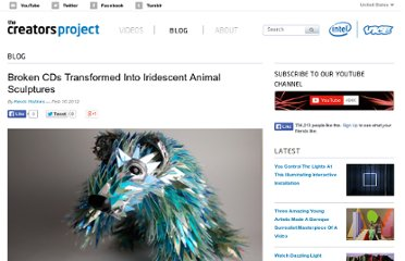 http://thecreatorsproject.com/blog/broken-cds-transformed-into-iridescent-animal-sculptures/
