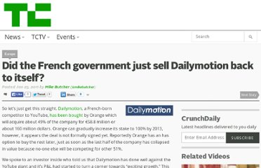 http://techcrunch.com/2011/01/25/did-the-french-government-just-sell-dailymotion-back-to-itself/