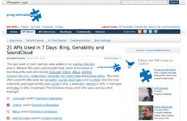 http://blog.programmableweb.com/2012/03/17/21-apis-used-in-7-days-bing-genability-and-soundcloud/