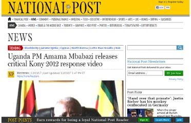 http://news.nationalpost.com/2012/03/17/uganda-pm-amama-mbabazi-releases-critical-kony-2012-response-video/