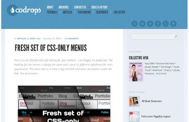 http://tympanus.net/codrops/2010/01/31/fresh-set-of-css-only-menus/