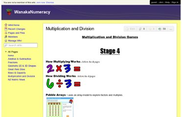 http://wanakanumeracy.wikispaces.com/Multiplication+and+Division