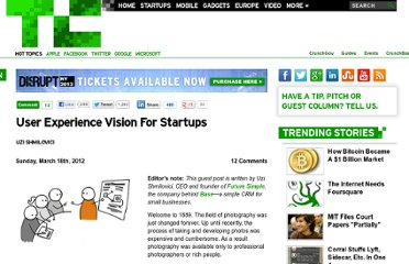 http://techcrunch.com/2012/03/18/user-experience-vision-for-startups/